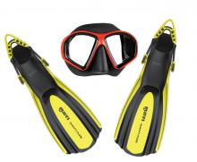 Juniorský set maska červená + ploutve žluté M
